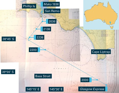 Figure 3: Composite excerpt of Glasgow Express's navigational chart (Aus 801) showing vessel tracks to collision. Source: Hapag-Lloyd; Australian Hydrographic Service; annotations by ATSB