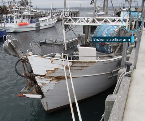 Figure 5: Damage to Mako. Source: ATSB