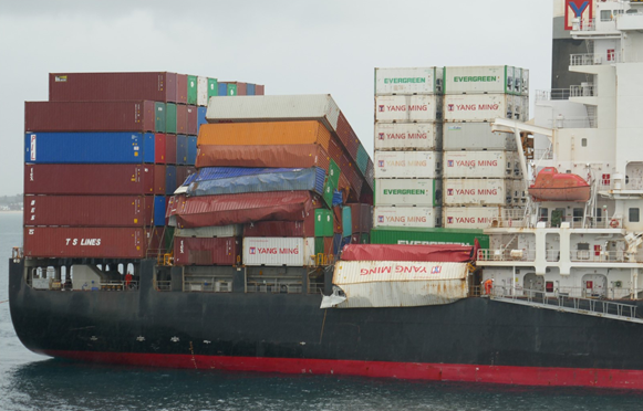Figure 3: Damaged containers on bay 52 and bay 56 on board YM Efficiency. Source: ATSB