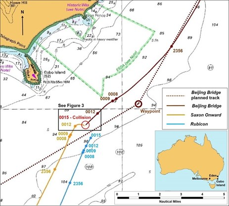 Figure 2: Section of navigational chart Aus 395 showing times of key events. Source: Australian Hydrographic Service, modified by the ATSB