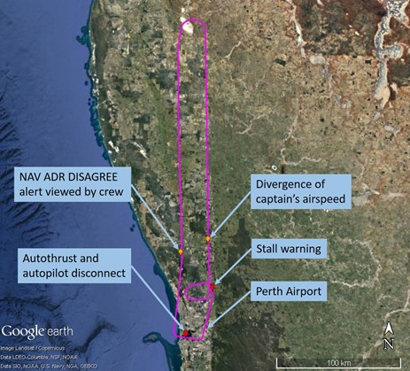 Figure 1: Flightpath of VH-FNP on 12 September 2015 (in a clockwise direction) with the key events identified. Source: Background - Google earth; flightpath and annotations - ATSB