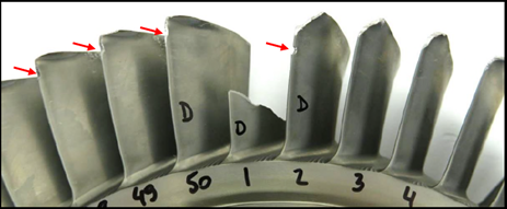 Figure 2: Boost rotor showing missing aerofoil and surrounding damage. Source: Pratt & Whitney Canada
