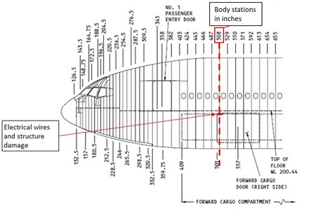 Figure 3: Boeing 777 aircraft showing the approximate location of the heat damaged ceiling panel, soot and heat damaged wiring loom. Source: The Boeing Company, modified by the ATSB