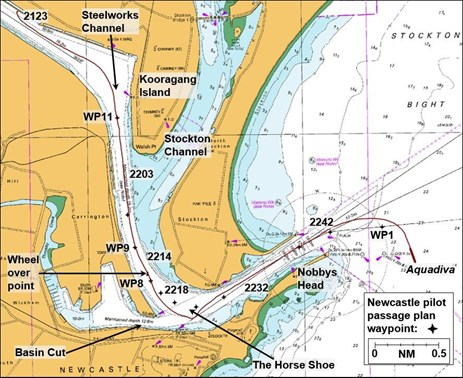 Figure 2: Extract from navigational chart Aus 207 showing Aquadiva's track departing Newcastle; position times and port waypoints (WP) indicated. Source: Australian Hydrographic Service; annotations by ATSB