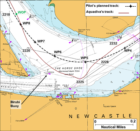 Figure 3: Extract from navigational chart Aus 208 showing Aquadiva's track through The Horse Shoe. Source: Australian Hydrographic Service; annotations by ATSB