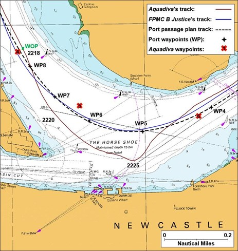 Figure 7: Extract from navigational chart Aus 208 showing comparison of tracks and waypoints through The Horse Shoe. Source: Australian Hydrographic Service; annotations by ATSB