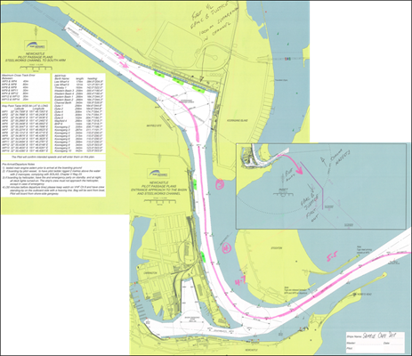 Appendix D – Reproduction of the pilot's Newcastle pilot passage plan chartlets showing the planned track and speeds. Source: Port Authority of New South Wales