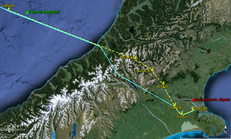 Figure 1: VH-VOP actual flight path (in blue) and BELEE 1 Charlie arrival route (yellow). Source: Google earth and operator, annotated by the ATSB