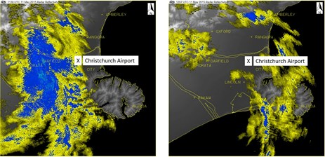 Figure 3: Weather radar showing rain passing overhead Christchurch Airport. Image shows light (yellow) to moderate (blue) rain passing overhead Christchurch Airport between 1130 (left) and 1207 (right); VOP touchdown was at 1214. Source: MetService, annotated by the ATSB