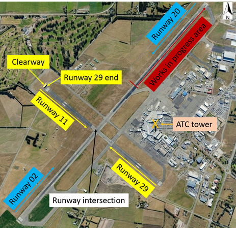 Figure 7: Christchurch Airport showing the runway directions and works in progress. Source: Google earth, annotated by the ATSB