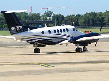 Beechcraft B200 King Air aircraft, registered VH-ZCR