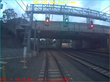 Figure 2: Train 2552 passing signal PE38 at 17:49:12 travelling at a speed of 41 km/h