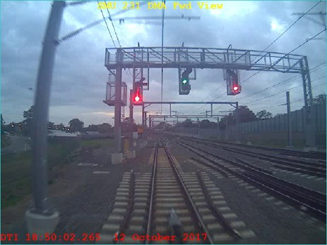 Figure 3: Train 2552 passing signal PE28 1750:02 travelling at a speed of at 42 km/h