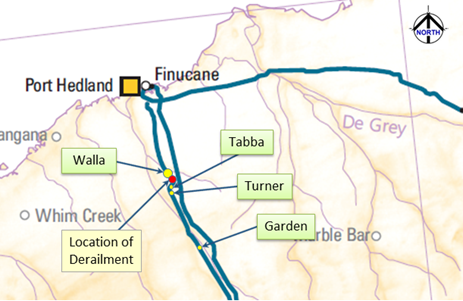 Figure 1: Map of the Pilbara region showing the derailment location. Source: Geoscience Australia annotated by ATSB