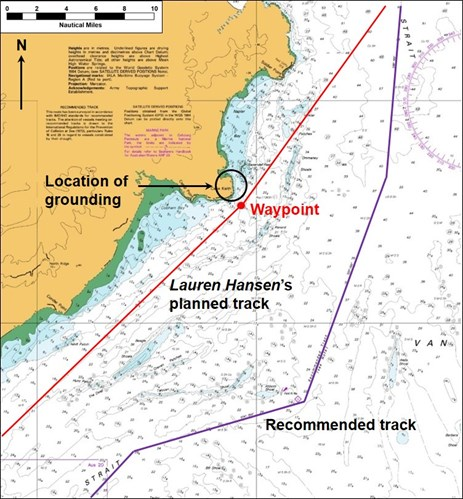 Figure 3: Section of navigational chart Aus 720 showing Lauren Hansen's planned track (in red) and the recommended track (in purple). Source: Australian Hydrographic Service, annotated by the ATSB
