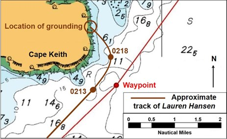 Figure 4: Section of navigational chart Aus 720 showing Lauren Hansen's approximate track with AIS derived positions (in brown). Source: Australian Hydrographic Service, annotated by the ATSB using AIS data provided by AMSA