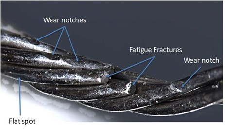 Figure 1: Wear and associated fatigue fracture of wires on the right rudder control cable. Source: ATSB