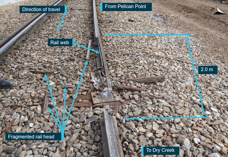 Figure 3: Fractured section of rail. Source:  ATSB