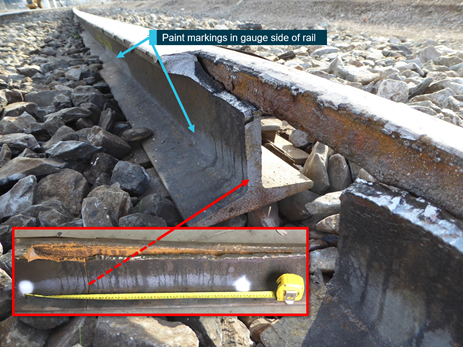 Figure 8: Failed section of railhead showing markings from ultrasonic car testing. Source: ATSB and ARTC (inset photograph)