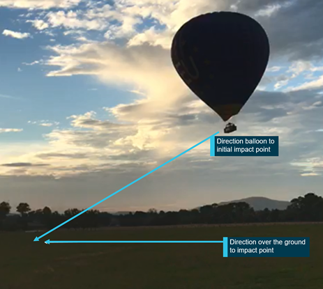 Figure 3: VH-EUA final descent profile. Source: Still image taken from witness video with ATSB annotations.