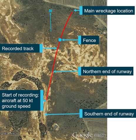 Figure 6: Recorded aircraft track for accident flight. Source: ATSB