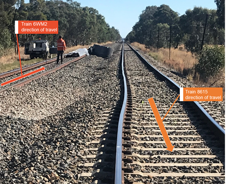 Figure 2: Incident location 204.5 km - looking south on the west track. Source: ARTC
