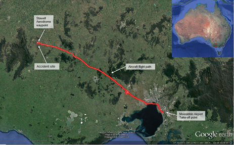 Figure 1: Aircraft's flight path and accident site location. Source: Google earth, with Airservices surveillance radar data. Annotated by the ATSB
