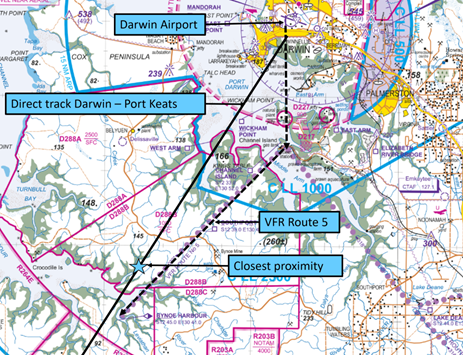 Figure 1: Extract of Darwin Visual Terminal Chart showing VFR Route 5 and direct track to Port Keats. Source: Airservices – annotated by ATSB