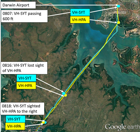Figure 2: Google Earth image overlaid with aircraft tracks. Source: Google Earth and radar data – annotated by ATSB