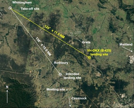 Figure 1: Take-off site, intended and actual flight paths and landing sites. Source: Google earth, modified by the ATSB