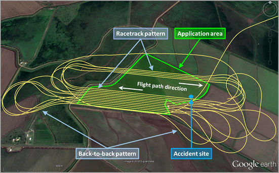 Figure 1: Application area (green), accident site (blue) and track flown (yellow). Source: Google earth, annotated by the ATSB