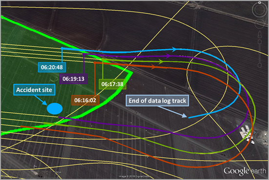 Figure 4: Final four right turns from an easterly track (last shown in blue). Source: Google earth, annotated by the ATSB