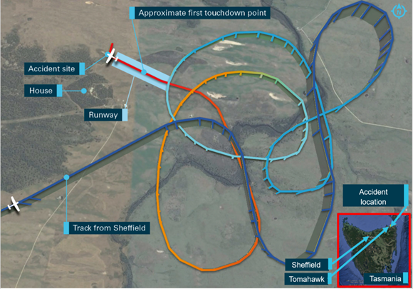 Figure 1: Recorded aircraft track. Source: AvPlan data – annotated by ATSB