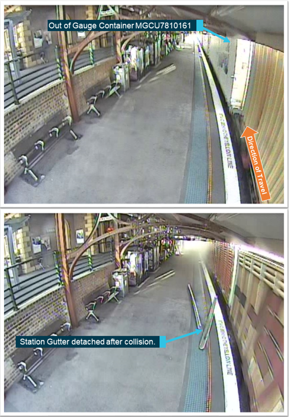 Figure 4: CCTV event recordings from Maitland Railway Station at the time of collision. The first image shows container MGCU7810161 out of gauge prior to the collision and the gutter collapsing. The second image shows the detached guttering shortly after the collision prior to 2BM9 departing the scene. Source: Sydney Trains annotated by ATSB.