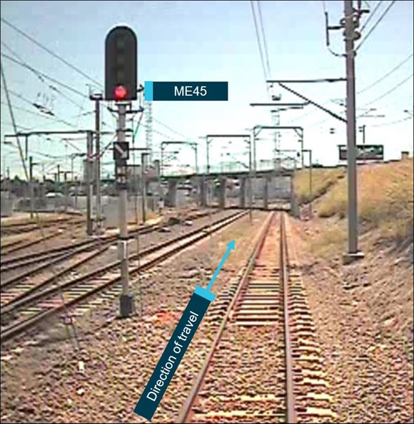 Figure 1: Image of signal ME45 immediately prior to the SPAD. The image was taken from the front of train TP43, immediately prior to it passing signal ME45 while it displayed a (red) stop indication. Source: Queensland Rail annotated by the ATSB