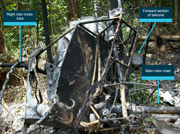 Figure 6: Main wreckage. Source: Queensland Police Service, annotated by ATSB