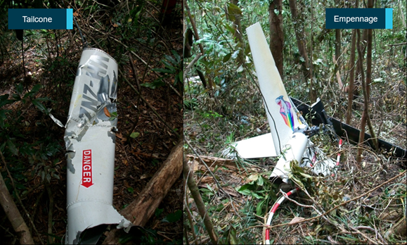 Figure 7: Separated tailcone (left) and empennage (right). Left: the rear tailcone assembly with strike mark and yellow paint transfer in and around the strike was found to the south of the main wreckage. Right: the empennage was found adjacent to the main wreckage but outside the fire zone with both tail rotor blades separated. Source: Queensland Police Service, annotated by ATSB