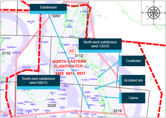 Source: Airservices Australia, annotated by ATSB. Source: Airservices Australia, annotated by ATSB