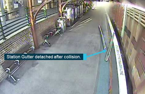 Train container collides with station verandah