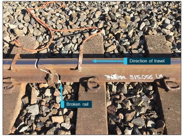 Figure 3: Broken Up rail at 315.056 due to weld being struck by WG713's derailed wheel. Source: ATSB