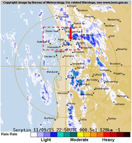 Figure 5: Perth weather radar image at 0650 (2250 UTC)