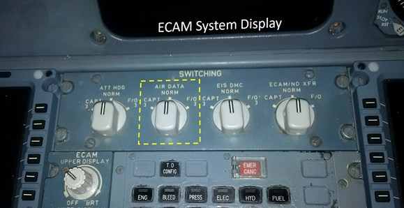 Figure 14: EFIS switching panel. Air data source switch highlighted by yellow box