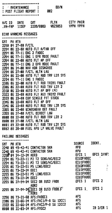 Figure 16: Post-flight report from VH-FNP