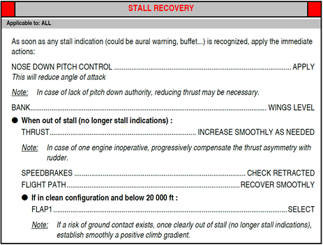 Figure 23: FCOM procedure – Stall recovery