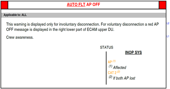 Figure A2: FCOM procedure – Auto flight autopilot off