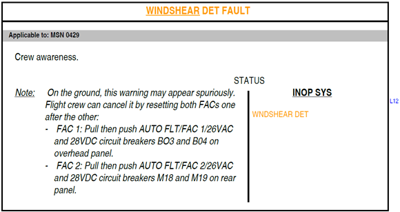 Figure B10: FCOM procedure – Windshear detection fault