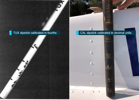 Figure 3: Fuel dip sticks from Cessna aircraft TUX and CAL. Image of fuel dipsticks from the incident aircraft VH-TUX (left) and the aircraft VH-CAL (right) flown by the pilot earlier on the morning of 5 January 2018. Source: Goldfields Air Services, annotated by ATSB
