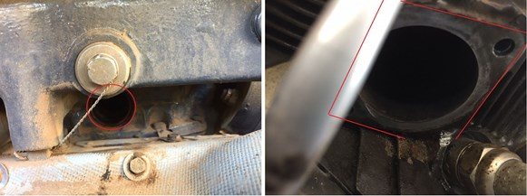 Figure 3: Lower (left image) and upper (right image) air intake pipe attachments points highlighted in red. Air intake pipe, bolts and flange are missing. Source: Operator