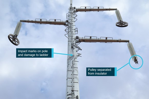 Figure 2: Impact marks and damage to pole 164. Source: ATSB
