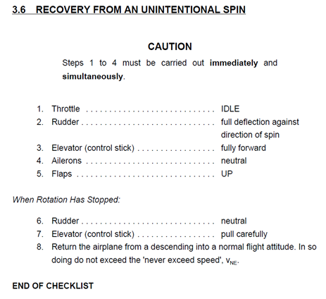 Figure 5: Unintentional spin recovery checklist. Source: Diamond Aircraft